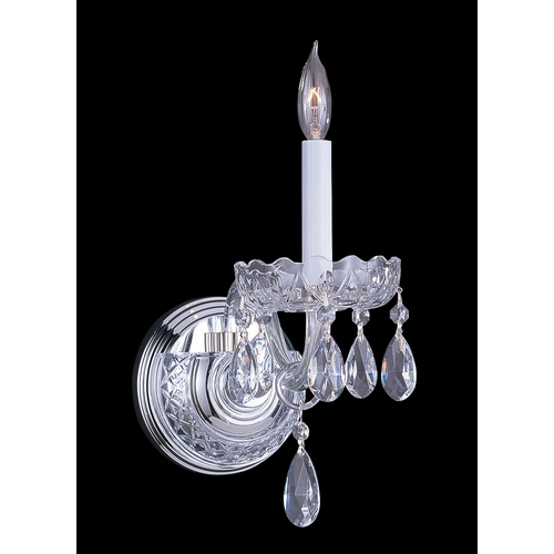 Crystorama Lighting Crystal Sconce Wall Light in Polished Chrome Finish 1031-CH-CL-SAQ