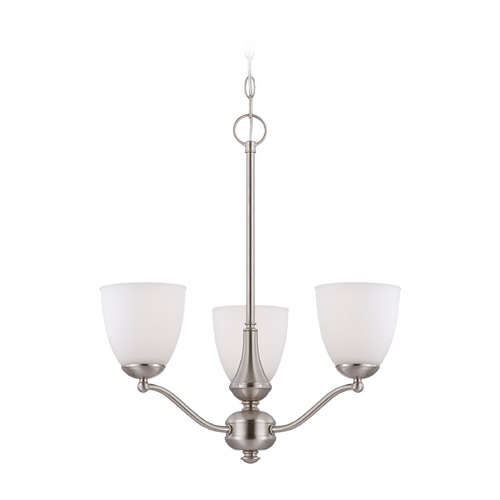 Nuvo Lighting Chandelier with White Glass in Brushed Nickel Finish 60/5056