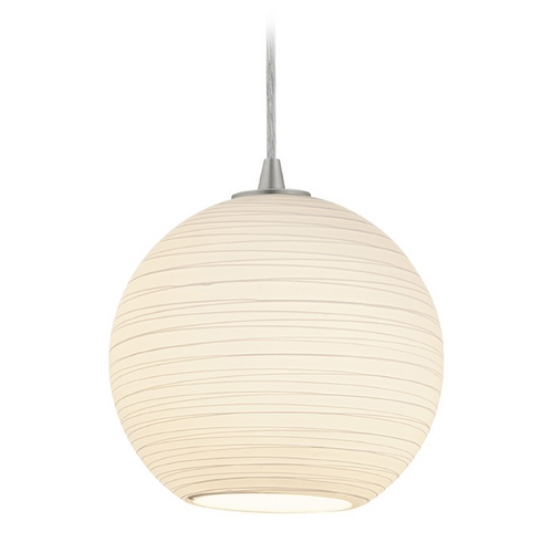 Access Lighting Access Lighting Sydney M Japanese Lantern Brushed Steel Mini-Pendant with Bowl / Dome Shade 28087-1C-BS/WHTLN