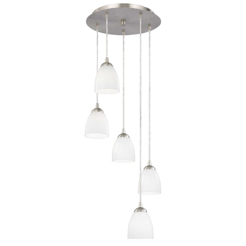 Design Classics Lighting Modern Multi-Light Pendant Light with White Glass and 5-Lights 580-09 GL1024MB