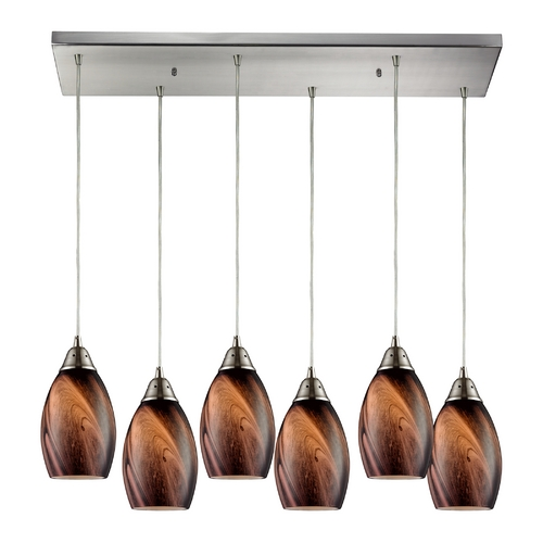 Elk Lighting Modern Multi-Light Pendant Light with Brown Glass and 6-Lights 31133/6RC-RCK