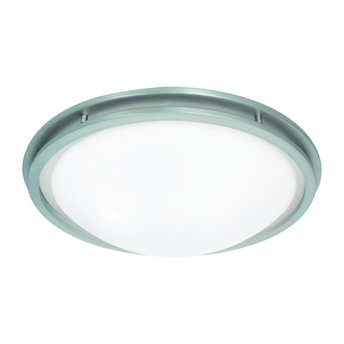 Access Lighting Access Lighting Aztec Brushed Steel LED Flushmount Light 20458LEDD-BS/WHT