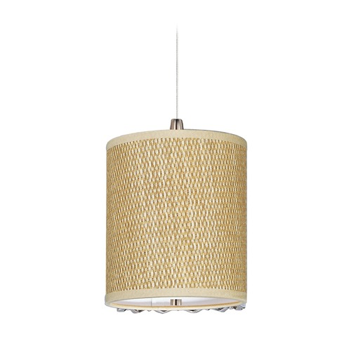 ET2 Lighting Elements Satin Nickel Mini-Pendant Light with Cylindrical Shade E95479-101SN