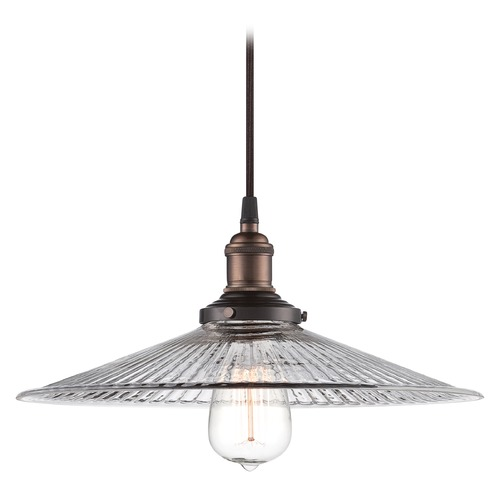 Nuvo Lighting Pendant Light with Clear Glass in Rustic Bronze Finish 60/5516