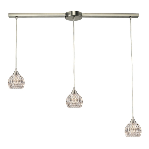 Elk Lighting Crystal Multi-Light Pendant Light with Clear Glass and 3-Lights 10342/3L