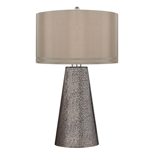 Dimond Lighting Table Lamp with Brown Shades in Heavy Metal Mercury Finish D2496
