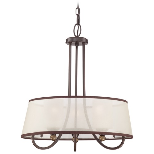 Quoizel Lighting Quoizel Palmer Palladian Bronze Pendant Light with Drum Shade PLR2820PN