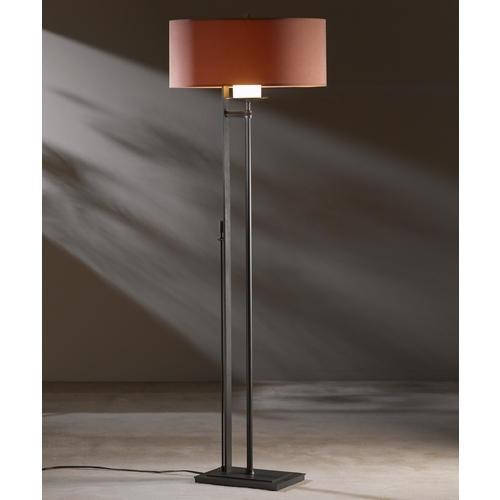 Hubbardton Forge Lighting Hubbardton Forge Lighting Rook Dark Smoke Floor Lamp with Drum Shade 234901-07-505