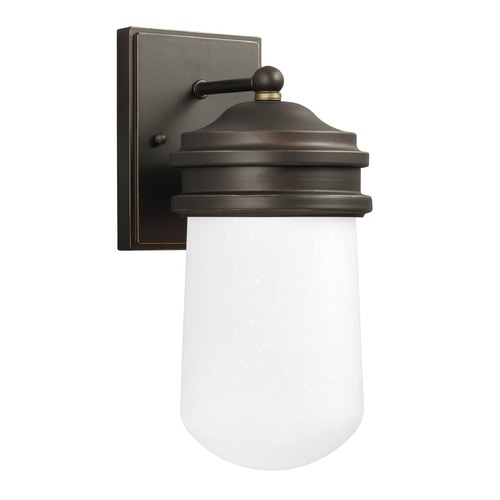Sea Gull Lighting Frosted Seeded Glass LED Outdoor Wall Light Bronze Sea Gull Lighting 8512691S-71