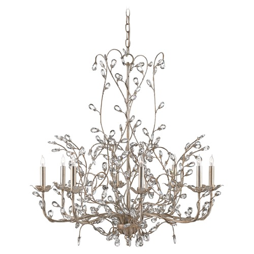 Currey and Company Lighting Currey and Company Crystal Bud Silver Granello Crystal Chandelier 9975