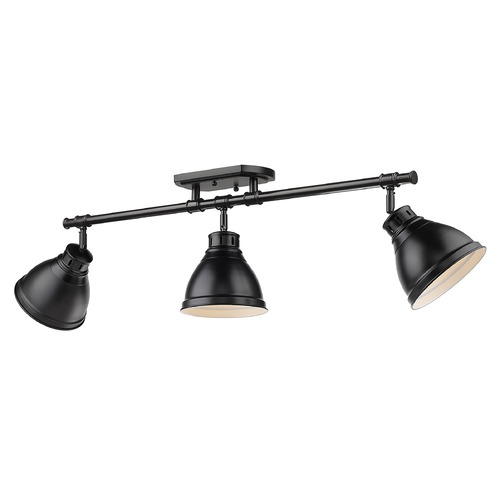 Golden Lighting Golden Lighting Duncan Black Track Light Kit with Matte Black Shade 3602-3SFBLK-BLK