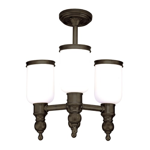 Hudson Valley Lighting Semi-Flushmount Light with White Glass in Distressed Bronze Finish 6313-DB