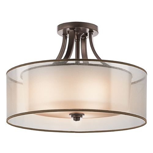 Kichler Lighting Kichler Semi-Flushmount Light with White Glass in Bronze Finish 42387MIZ