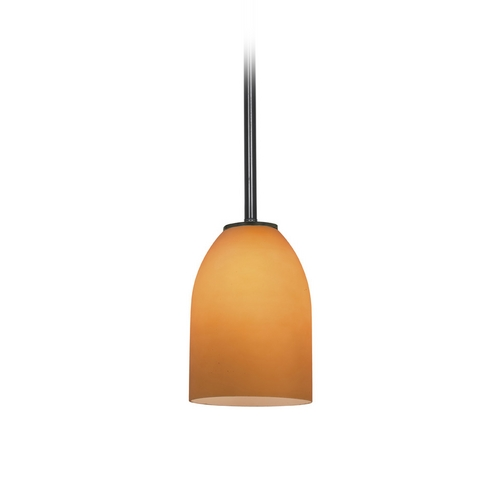 Access Lighting Modern Mini-Pendant Light with Amber Glass 28018-2R-ORB/AMB
