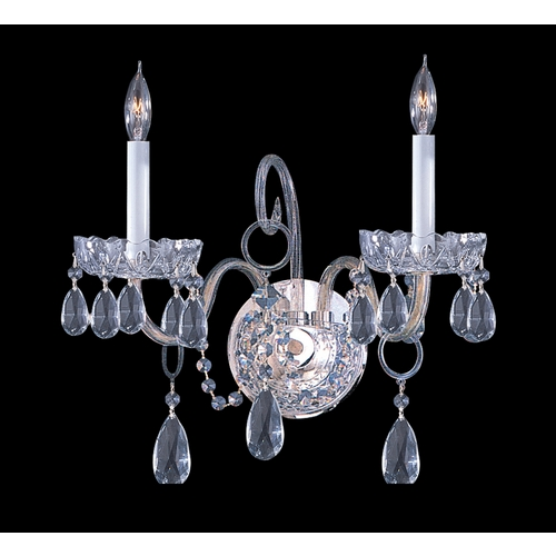 Crystorama Lighting Crystal Sconce Wall Light in Polished Chrome Finish 1032-CH-CL-MWP