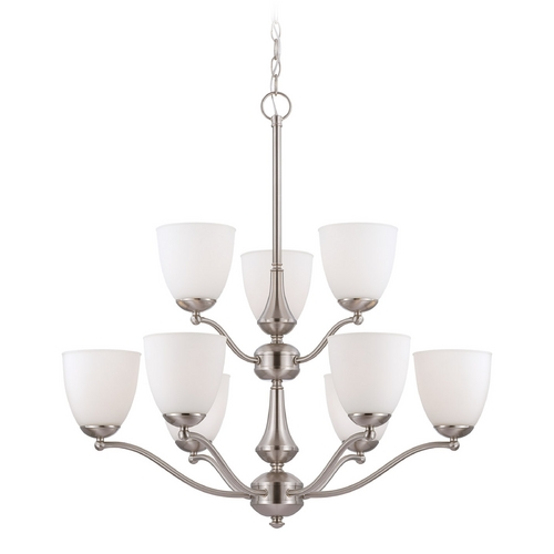 Nuvo Lighting Chandelier with White Glass in Brushed Nickel Finish 60/5059