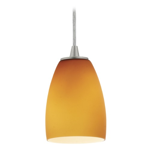 Access Lighting Access Lighting Sydney Sherry Brushed Steel Mini-Pendant with Bowl / Dome Shade 28069-1C-BS/AMB