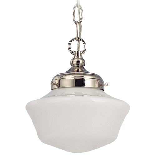 Design Classics Lighting 8-Inch Schoolhouse Mini-Pendant Light with Opal Schoolhouse Glass FA4-15 / GA8 / A-15