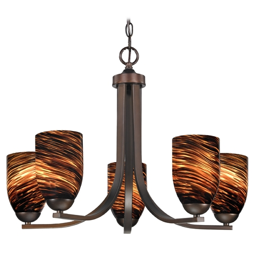 Design Classics Lighting Modern Chandelier with Brown Art Glass in Neuvelle Bronze Finish 584-220 GL1023D