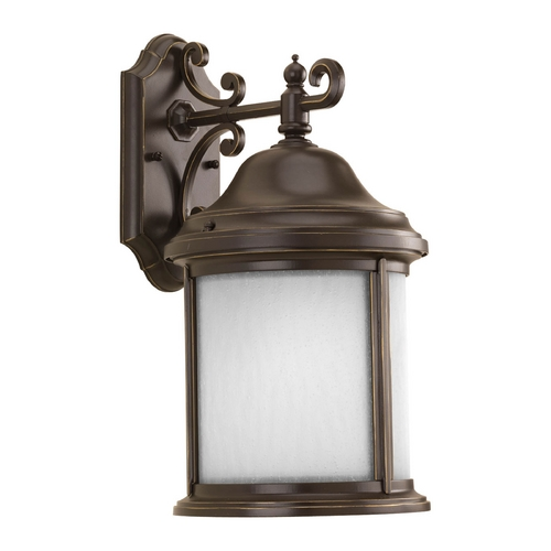Progress Lighting Outdoor Wall Light with White Glass in Antique Bronze Finish P5875-20WB