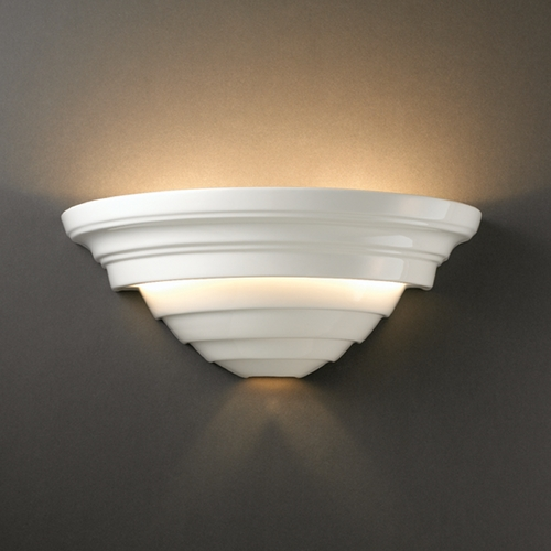 Justice Design Group Outdoor Wall Light in Gloss White Finish CER-1555W-WHT