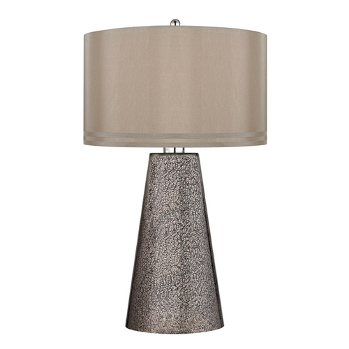 Dimond Lighting LED Table Lamp with Brown Shades in Heavy Metal Mercury Finish D2496-LED