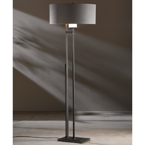 Hubbardton Forge Lighting Hubbardton Forge Lighting Rook Dark Smoke Floor Lamp with Drum Shade 234901-07-506