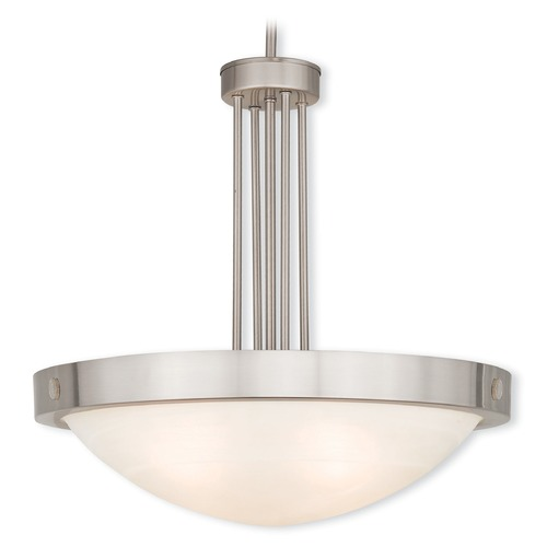 Livex Lighting Livex Lighting New Brighton Brushed Nickel Pendant Light with Bowl / Dome Shade 73964-91