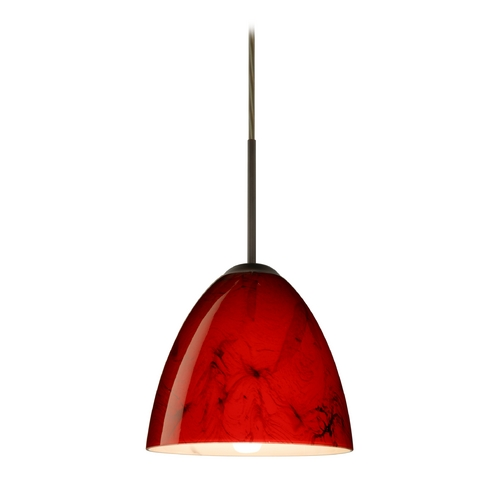 Besa Lighting Modern Pendant Light Red Glass Bronze by Besa Lighting 1JT-4470MA-BR