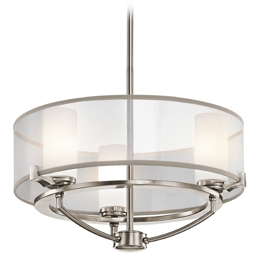 Kichler Lighting Kichler Drum Pendant Light with White Shades in Classic Pewter Finish 42923CLP