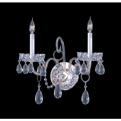 Crystorama Lighting Crystal Sconce Wall Light in Polished Chrome Finish 1032-CH-CL-S