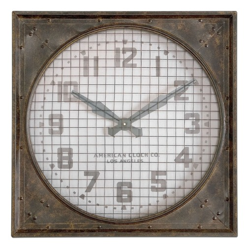Uttermost Lighting Uttermost Warehouse Wall Clock W/ Grill 06083