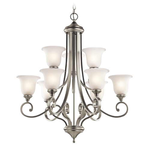 Kichler Lighting Kichler Chandelier with White Glass in Brushed Nickel Finish 43159NI