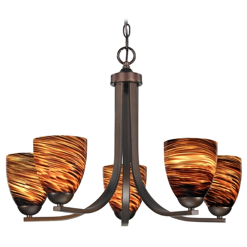 Design Classics Lighting Modern Chandelier with Brown Art Glass in Neuvelle Bronze Finish 584-220 GL1023MB