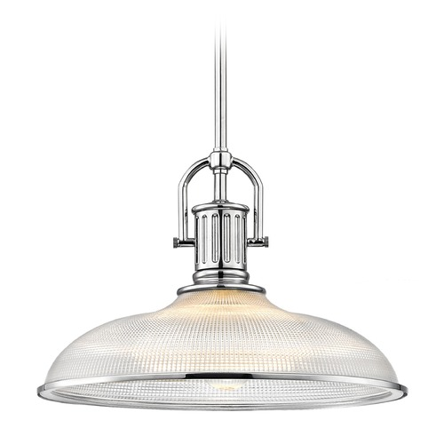 Design Classics Lighting Industrial Chrome Prismatic Pendant Light 14.38-Inch Wide 1764-26 G1781-FC R1781-26