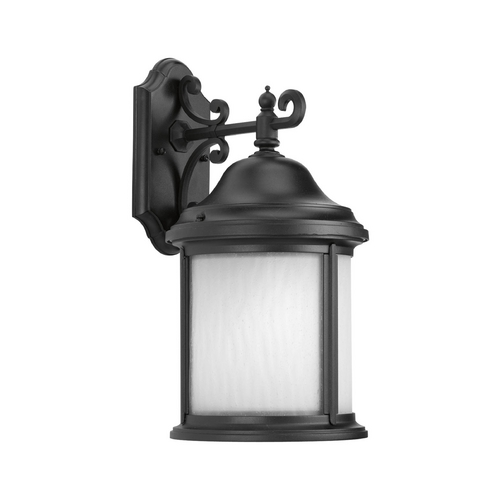 Progress Lighting Outdoor Wall Light with White Glass in Black Finish P5875-31WB