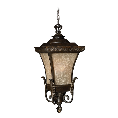 Hinkley Lighting Outdoor Hanging Light with Amber Glass in Regency Bronze Finish 1932RB-GU24
