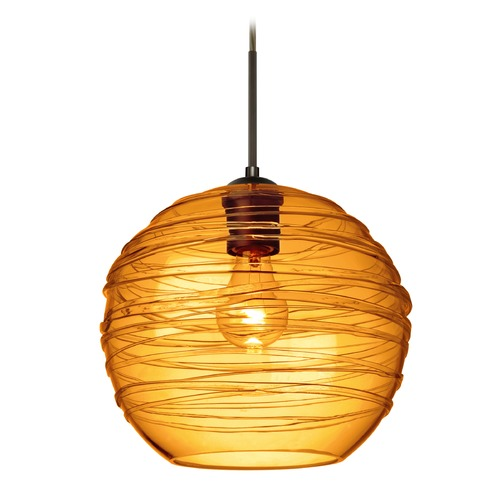 Besa Lighting Besa Lighting Wave Bronze Pendant Light with Globe Shade 1JT-462782-BR
