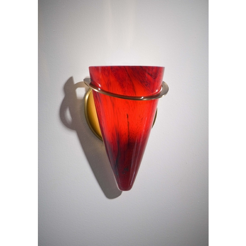 Holtkoetter Lighting Holtkoetter Modern Sconce Wall Light with Red Glass in Antique Brass Finish 2977 AB MGR