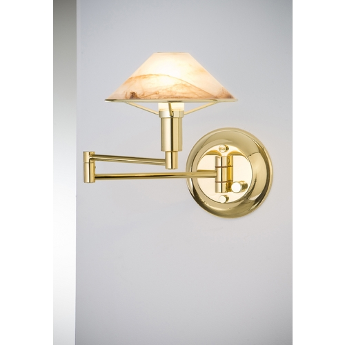 Holtkoetter Lighting Holtkoetter Modern Swing Arm Lamp with Alabaster Glass in Polished Brass Finish 9426 PB ABR
