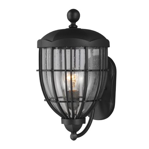 Feiss Lighting Seeded Glass Outdoor Wall Light Black Feiss Lighting OL9802TXB