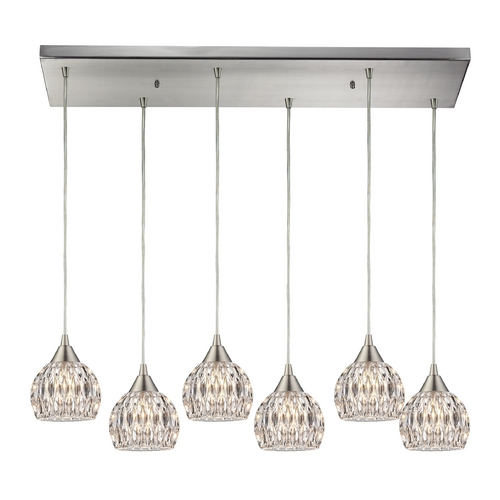 Elk Lighting Crystal Multi-Light Pendant Light with Clear Glass and 6-Lights 10342/6RC