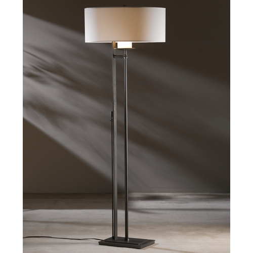 Hubbardton Forge Lighting Hubbardton Forge Lighting Rook Dark Smoke Floor Lamp with Drum Shade 234901-07-507