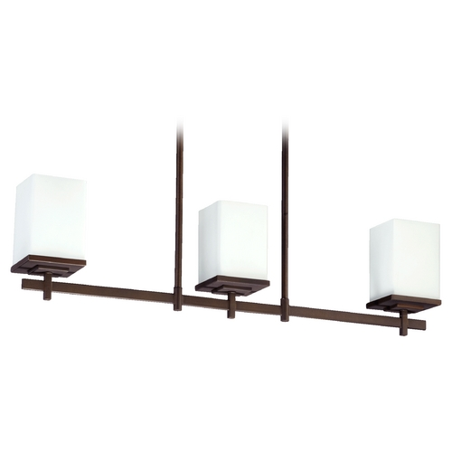 Quorum Lighting Quorum Lighting Delta Oiled Bronze Island Light with Rectangle Shade 6584-3-86
