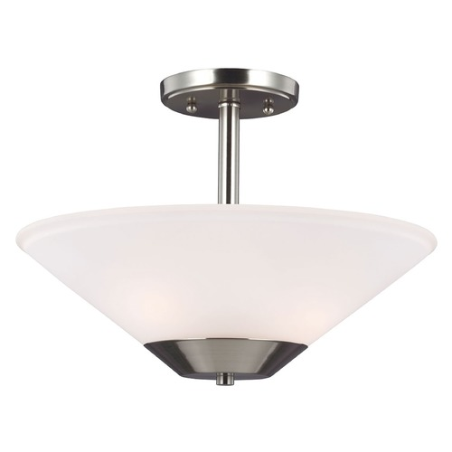 Sea Gull Lighting Sea Gull Lighting Ashburne Brushed Nickel Semi-Flushmount Light 7711202-962
