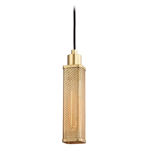 Hudson Valley Lighting Hudson Valley Lighting Gibbs Aged Brass Mini-Pendant Light with Rectangle Shade 7033-AGB
