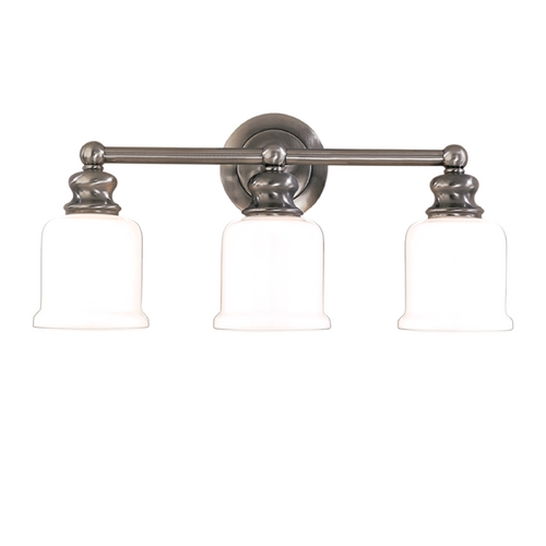 Hudson Valley Lighting Bathroom Light with White Glass in Antique Nickel Finish 2303-AN
