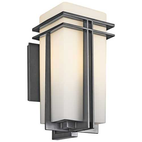 Kichler Lighting Kichler Outdoor Wall Light with White Glass in Black Finish 49202BKFL