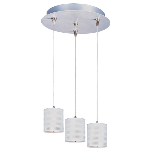 ET2 Lighting Modern Low Voltage Multi-Light Pendant Light with White Shades and 3-Lights E95493-100SN