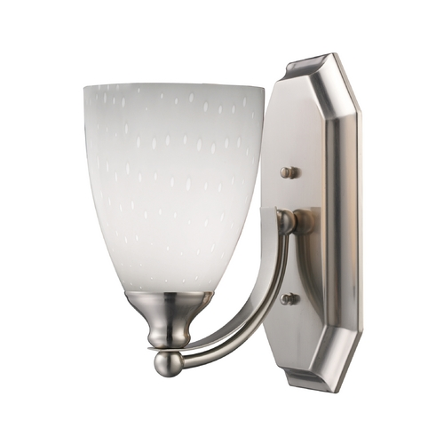 Elk Lighting Sconce with Art Glass in Satin Nickel Finish 570-1N-WH